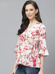 AASI - HOUSE OF NAYO Women Off White & Pink Wrap Floral Printed V-Neck Top