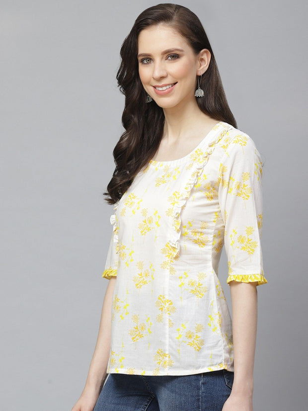 Women White & Yellow Regular Floral Printed Round Neck Top