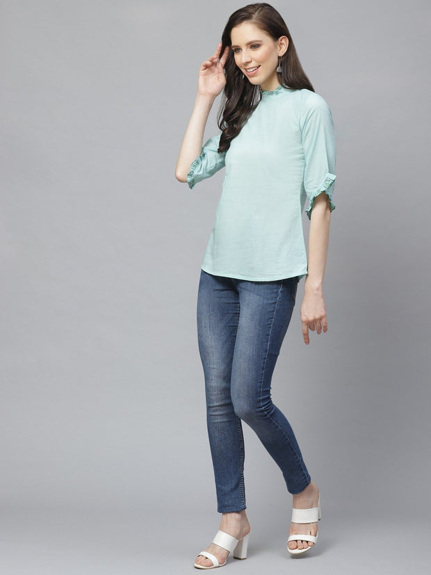 Women Blue A-Line Solid High Neck Top