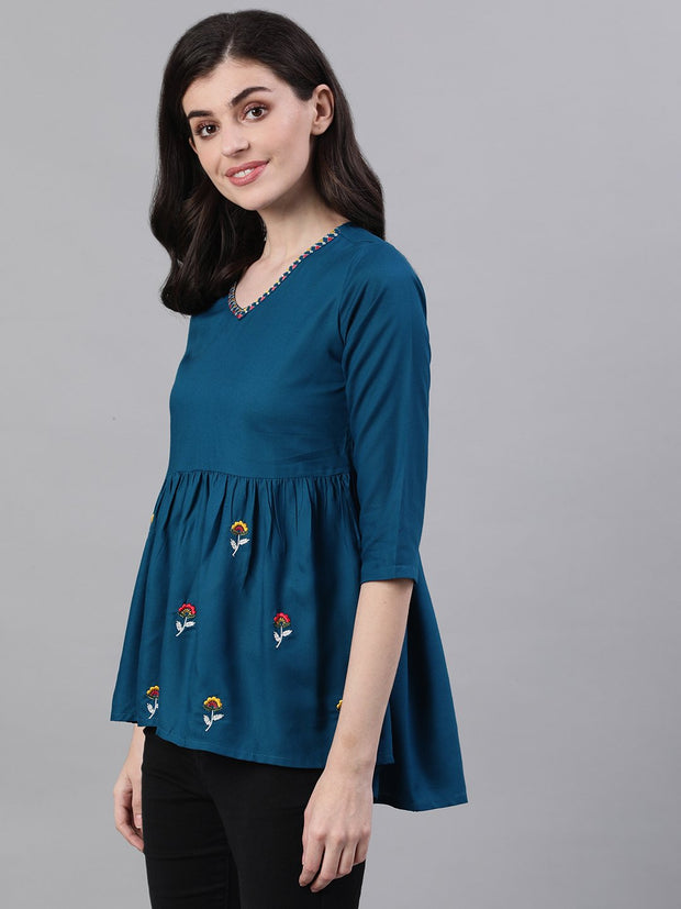 Women Teal Blue Three-Quarter Sleeves Gathered or Pleated Top