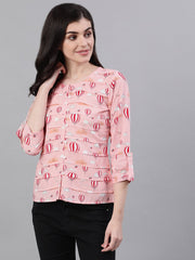 Women Peach Three-Quarter Sleeves Gathered or Pleated Top