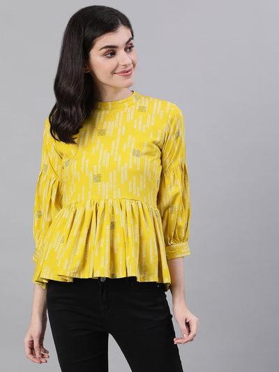 Women Yellow Three-Quarter Sleeves Gathered or Pleated Top