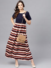 Multi Colored Maxi dress with round neck and Half sleeves