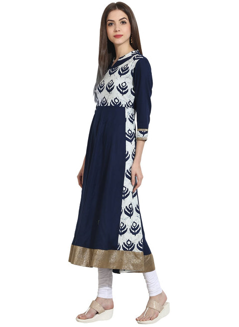 Navy Blue with printed Yoke 3/4th sleeve cotton anarkali