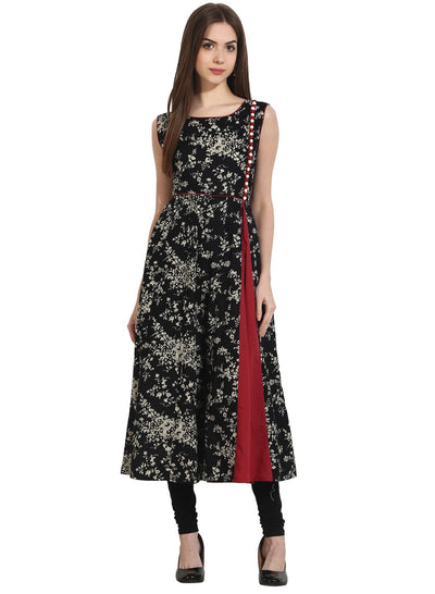 Black printed sleevless cotton A-Line Kurta