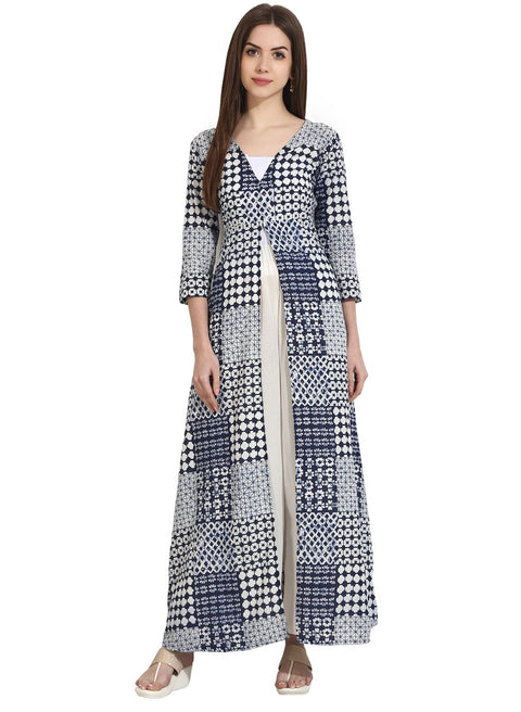 Blue Printed 3/4th Sleeve floor length open kurta