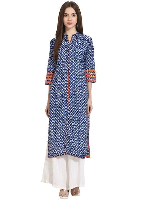 Indigo Blue Printed 3/4th Sleeve cotton Kurta