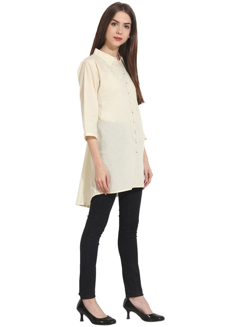 Cream Color 3/4 sleeve cotton tunics