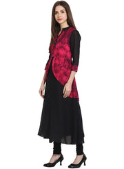 Black 3/4th sleeve georgette anarkali kurta with printed yoke