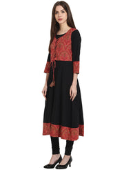 Black 3/4th sleeve anarkali kurta with printed Jacket