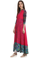 Multi 3/4th sleeve cotton anarkali kurta