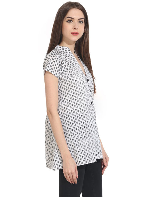 white printed cap sleeve tunics