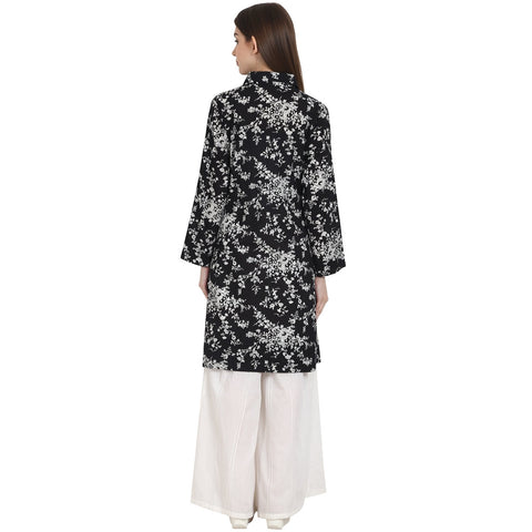 Black printed full sleeve front open cotton Tunics