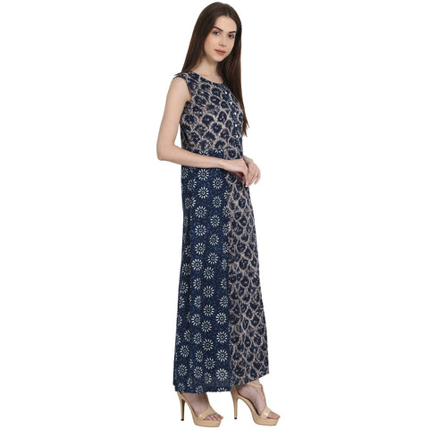 Blue printed sleevless rayon kurta