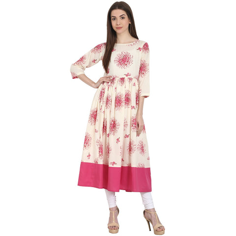 Peach printed 3/4 sleeve cotton anarkali kurta