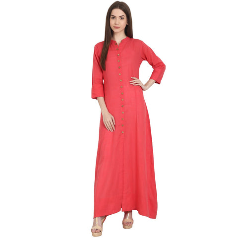 Red 3/4 sleeve cotton floor length front open kurta