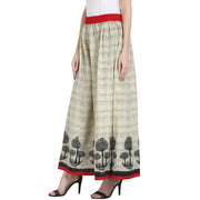 Beige color cotton ankle length plazzo