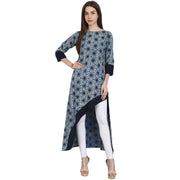 Blue printed 3/4 sleeve assymetrical cotton kurta
