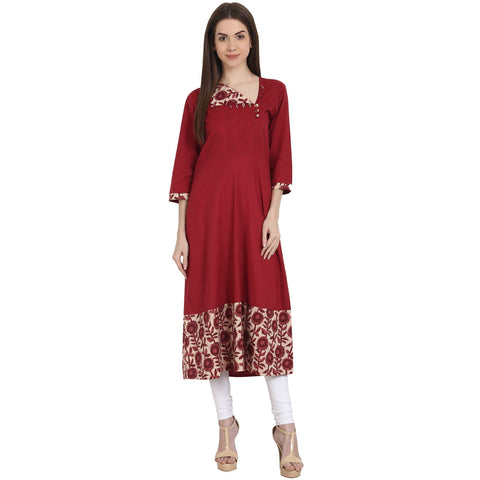 Maroon 3/4 sleeve cotton A-Line kurta