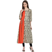 Beige printed 3/4 sleeve cotton anarkali kurta