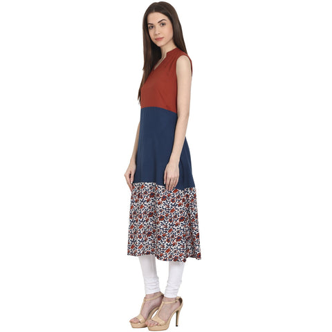 Multi printed sleevless cotton A-Line kurta