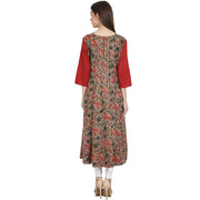 Multi printed 3/4 sleeve cotton low high kurta