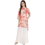 Peach printed 3/4 sleeve low high  cotton Kurta