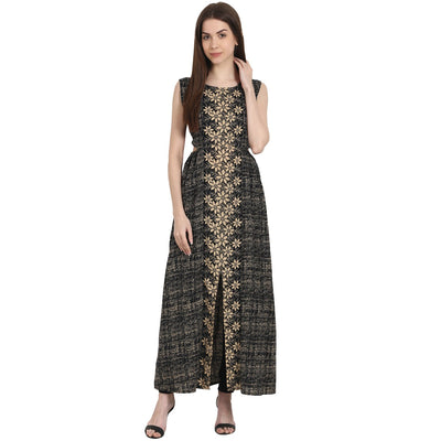 Grey printed sleevless cotton kurta