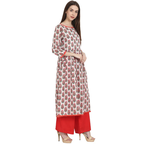 White & red printed 3/4 sleeve cotton A-Line kurta