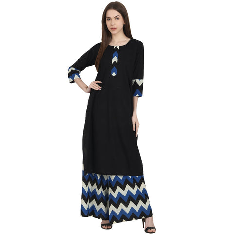 Black 3/4 sleeve kurta with blue printed ankle length plazzo