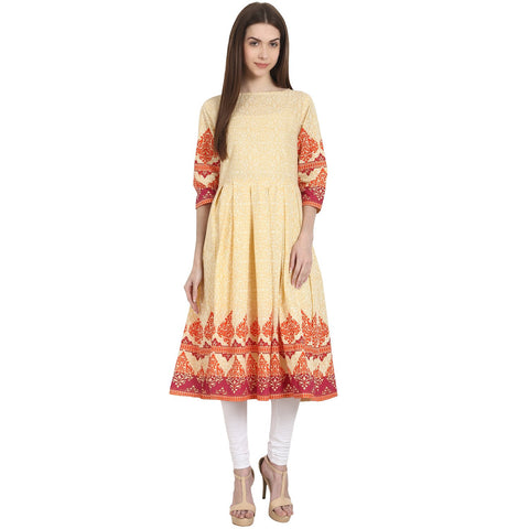 Peack printed 3/4 sleeve cotton anarkali kurta