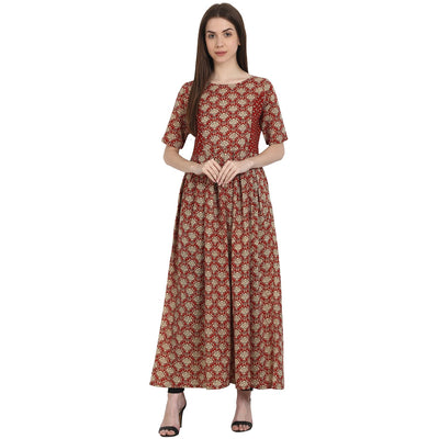 Red printed half sleeve cotton anarkali kurta