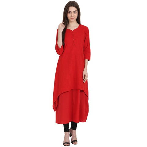 Red 3/4 sleeve cotton slub kurta