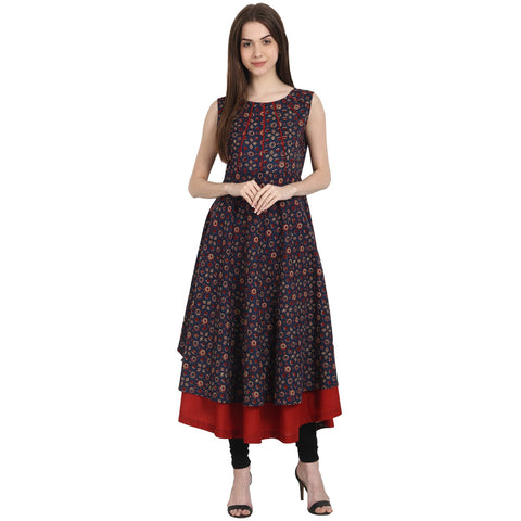 Multi printed sleevless cotton Anarkali kurta with red inner