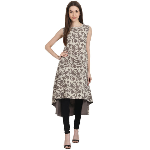 Beige printed sleevless cotton kurta