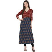 Multi printed 3/4 sleeve cotton A-line kurta