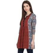 Multi printed 3/4 sleeve cotton A-line tunics