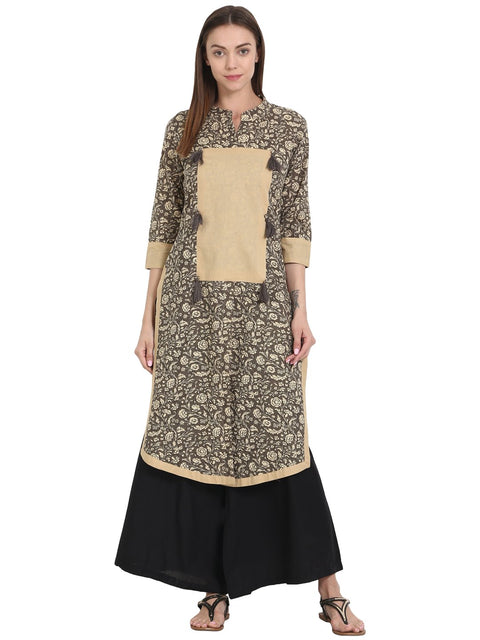Grey printed 3/4 sleeve cotton kurta
