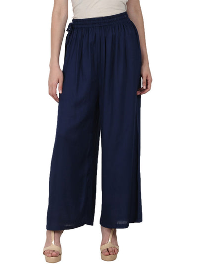Nayo Navy Blue ankle length Rayon straight plazzo