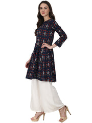 Blue printed 3/4 sleeve cotton A-line kurta