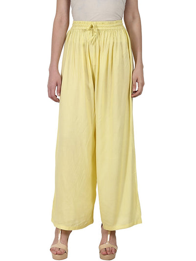 Yellow ankle length Rayon straight plazzo