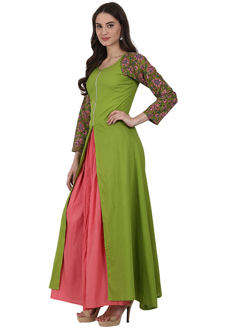 Green 3/4 sleeve cotton A-line kurta with front cut
