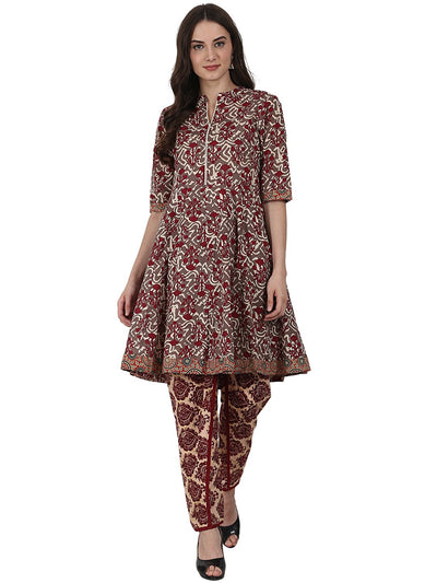 Grey printed half sleeve cotton kurta