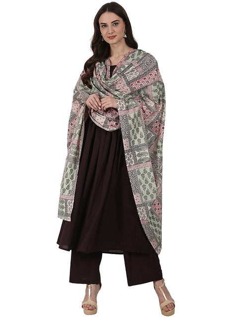 Coffee 3/4 sleeve anarkali kurta with ankle length plazzo & printed dupatta