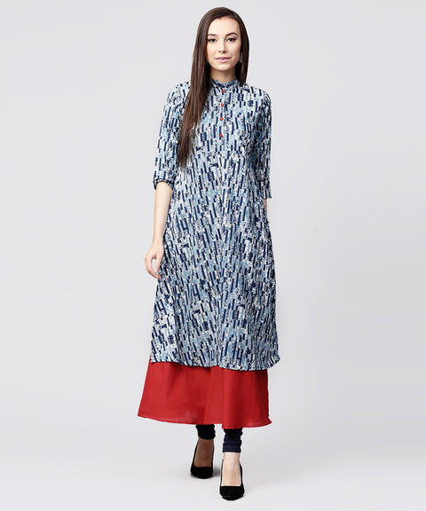 Blue printed 3/4th sleeve cotton double layer kurta