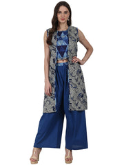 Blue printed top with solid ankle length plazzo & sleevless grey printed Jacket