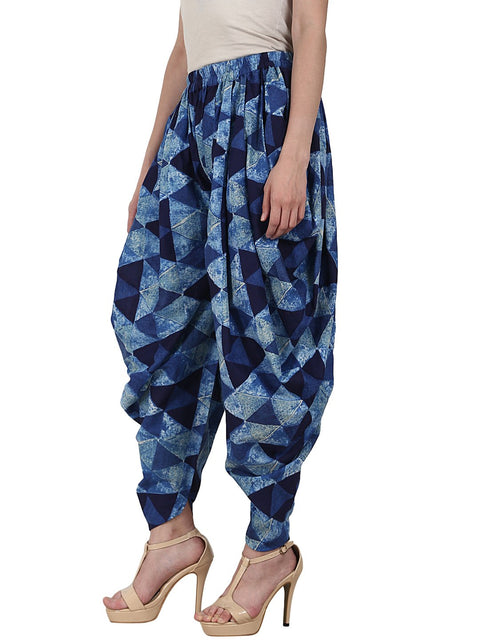 Blue printed ankle length cotton dhoti
