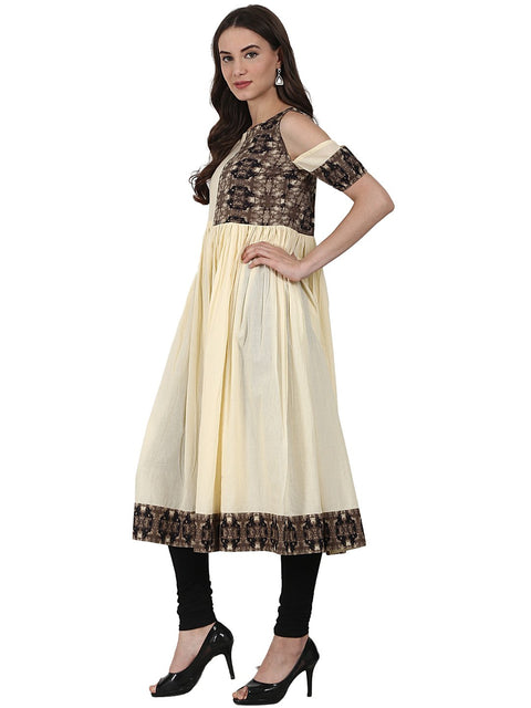 Cream color short sleeve cotton anarkali kurta