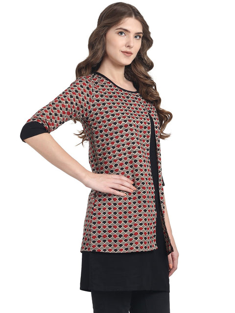 Black 3/4th sleeve cotton double layer tunic