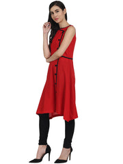 Red sleevless cotton A-line kurta